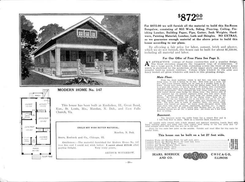 Modern Home No.147, available from Sears for $872 in 1913