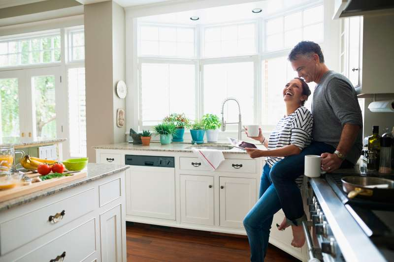 middle-aged couple in kitchen