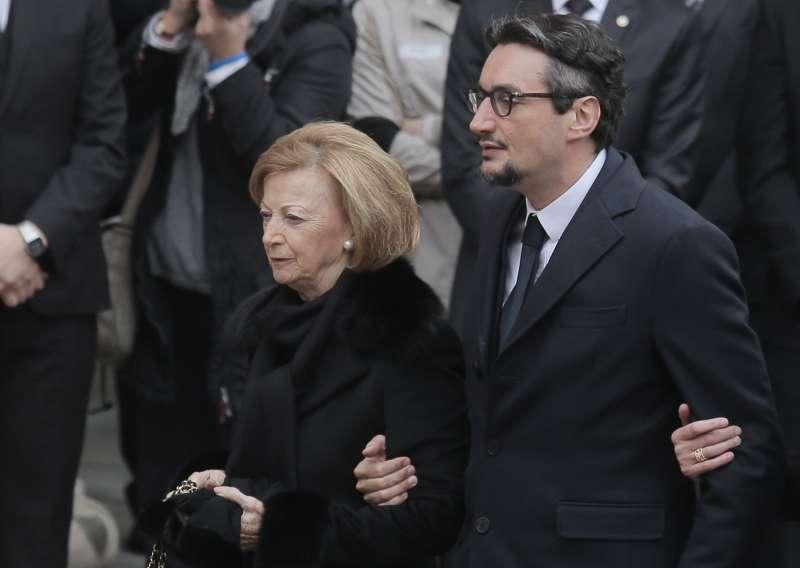 Maria Franca Ferrero, the widow of Michele Ferrero and his son Giovanni Ferrero arrive for the funeral of Michele Ferrero on Feb. 18, 2015 in Alba, northern Italy.