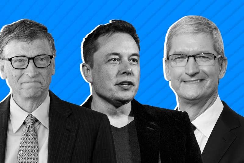 Tim Cook, Bill Gates, Elon Musk
