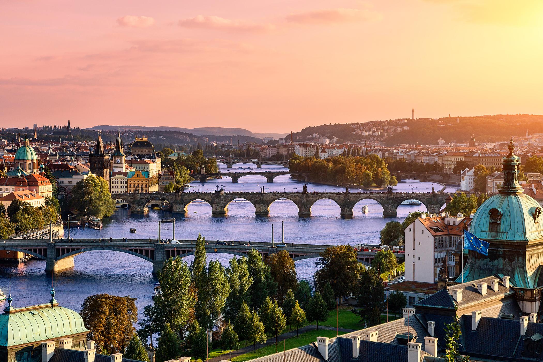 Vlatava river and Charles bridge and bridges of Prague.