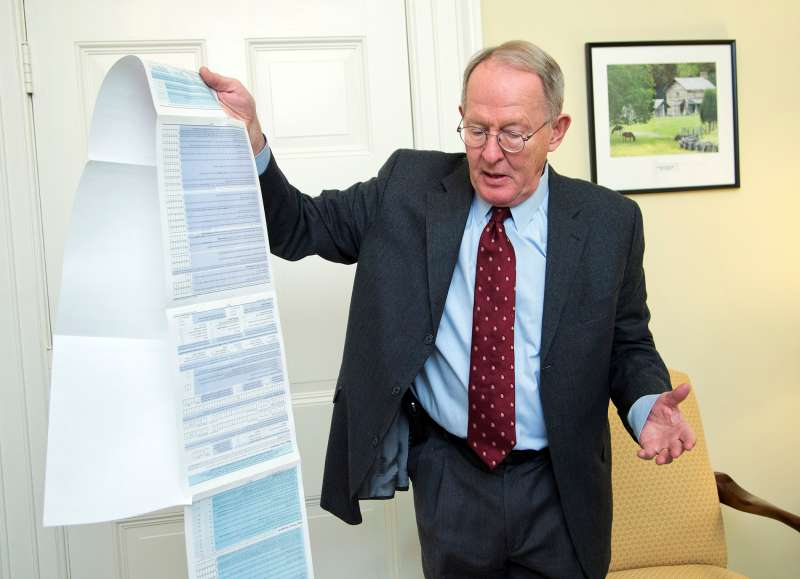 Sen. Lamar Alexander, R-Tenn., shows the Free Application for Federal Student Aid (FAFSA) form, during an interview with the Associated Press on Capitol Hill in Washington, Friday, Nov. 14, 2014.