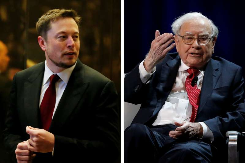 The companies run by Elon Musk (left) and Warren Buffett are pushing for different legislation in Texas.