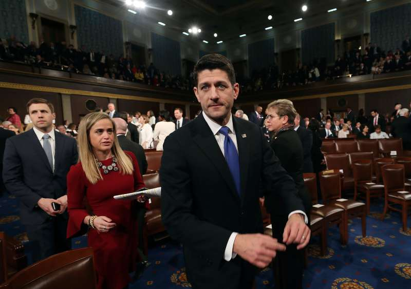 House Speaker Paul Ryan of Wis., arrives for President Donald Trump address on Capitol Hill in Washington, Tuesday, Feb. 28, 2017, to a joint session of Congress.