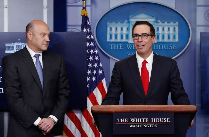 Treasury Secretary Steven Mnuchin, joined by National Economic Director Gary Cohn, speaks in the briefing room of the White House on April 26, 2017.
