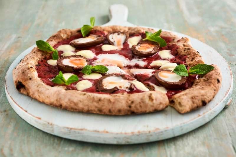The limited edition  Fior-egg-tina  Cadbury Egg Pizza by Crust Bros.