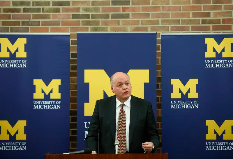 University Of Michigan Press Conference Announcing Athletic Director David Brandon Resignation
