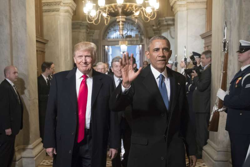 President-elect Donald Trump and former President Barack Obama arrive for Trumps inauguration ceremony at the Capitol in Washington, on January 20, 2017.