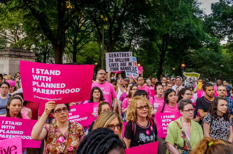 Planned Parenthood organized #PinkOut Day, in an effort to make lawmakers confront the cruelty of their health care bill by turning the internet pink, and showing up in cities and towns across the country wearing pink, June 21, 2017.