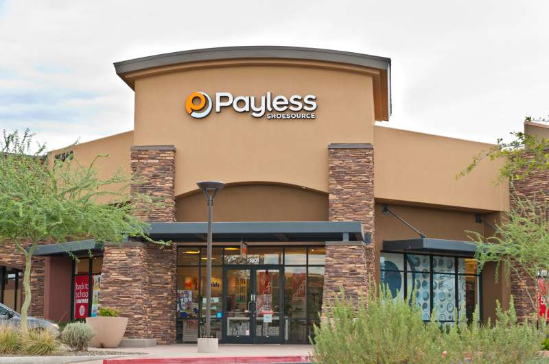 Payless Shoe Source Footwear Retail Store Front with Logo Sign