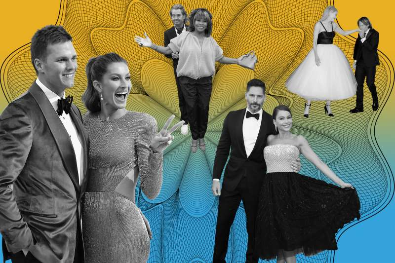 illustration with Tom Brady and Gisele bundchen, Tina Turner and erwin bach, nicole kidman and keith urban, Joe Manganiello, sofia vergara