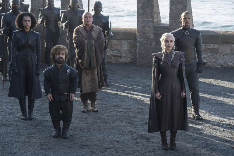 Nathalie Emmanuel, Peter Dinklage, Conleth Hill, Emilia Clarke, Jacob Anderson in HBO's  Game of Thrones  Season 7 (2017).