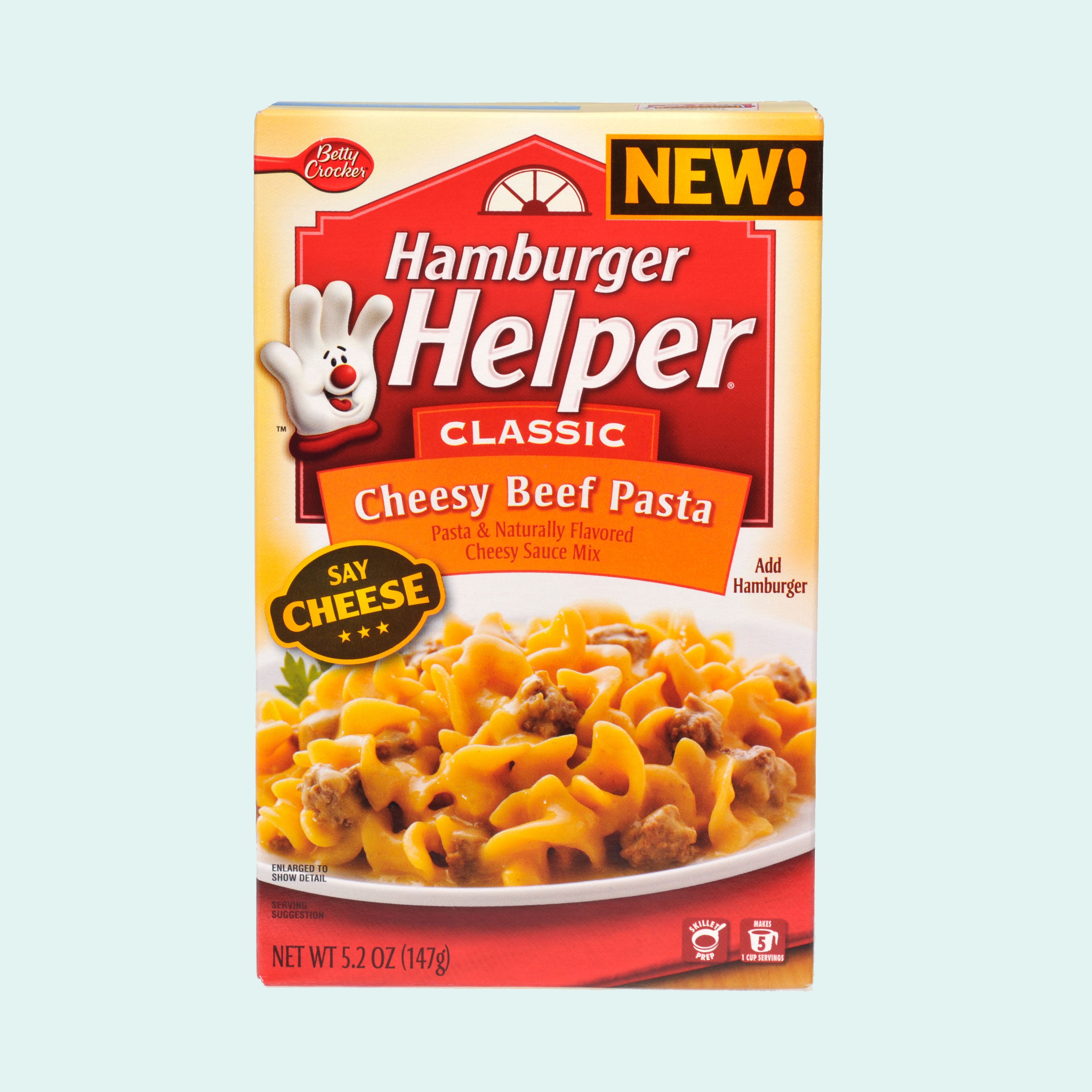 Box of Betty Crocker Cheesy Beef Pasta Hamburger Helper Classic on white background cutout.