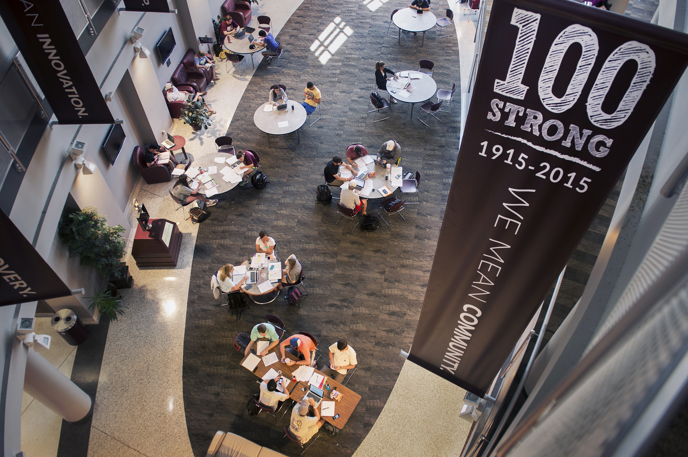 Inspirational banners in McCool Hall. (photo by Raeley Stevens / © Mississippi State University)