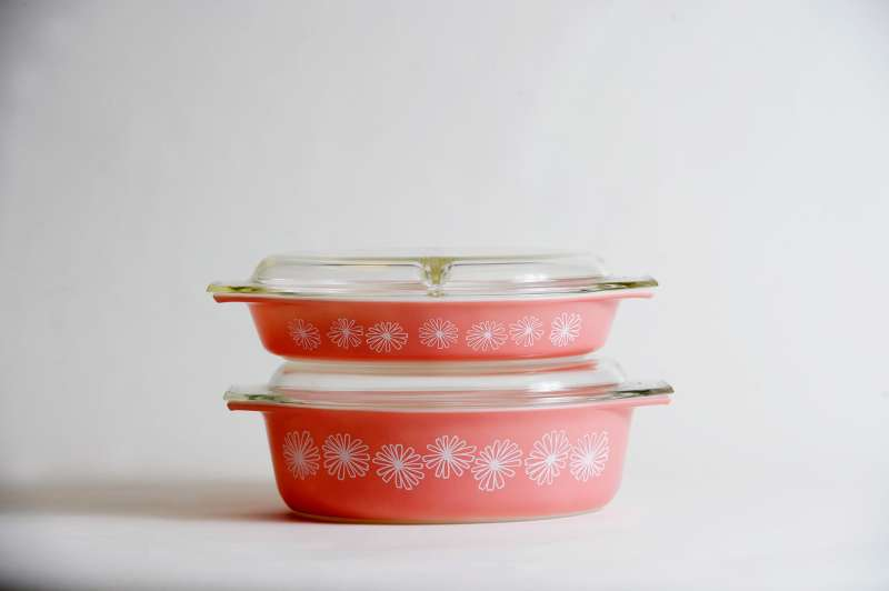 Pyrex Pink Daisy casserole dishes were first released in 1956.