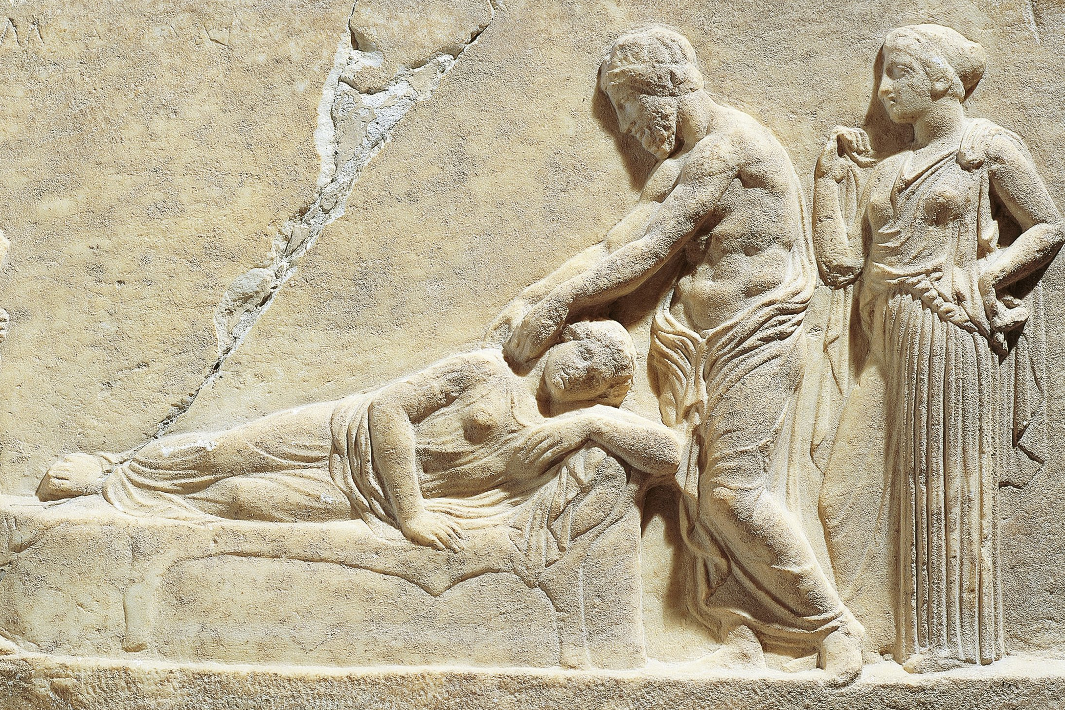 Marble relief depicting Asclepius or Hippocrates treating ill woman, from Greece, Il Pireo, Archaeological Museum, 5th Century B.C.