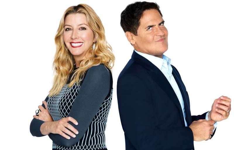 Sara Blakely and Mark Cuban, two billionaires on ABC's reality TV show Shark Tank.