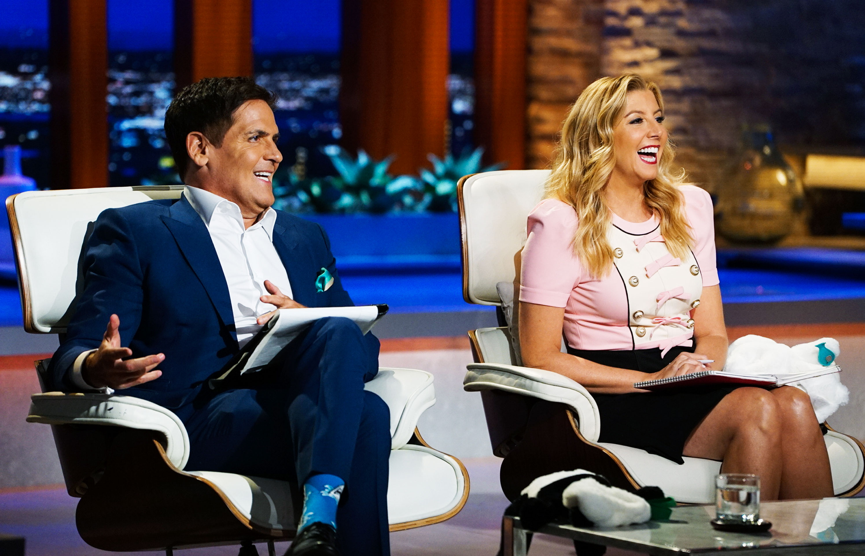 Mark Cuban and Sara Blakely filming season nine of Shark Tank in Los Angeles in June.