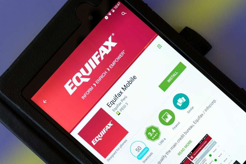 Equifax consumer credit reporting agency app shown on a tablet computer