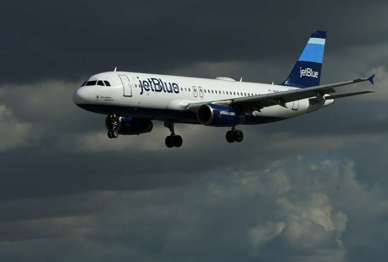 A JetBlue aircraft comes in to land at Long Beach Airport in Long Beach