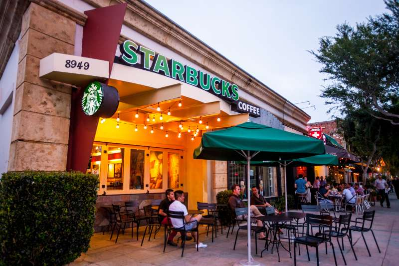 People sitting at Starbucks Coffee in West Hollywood, USA