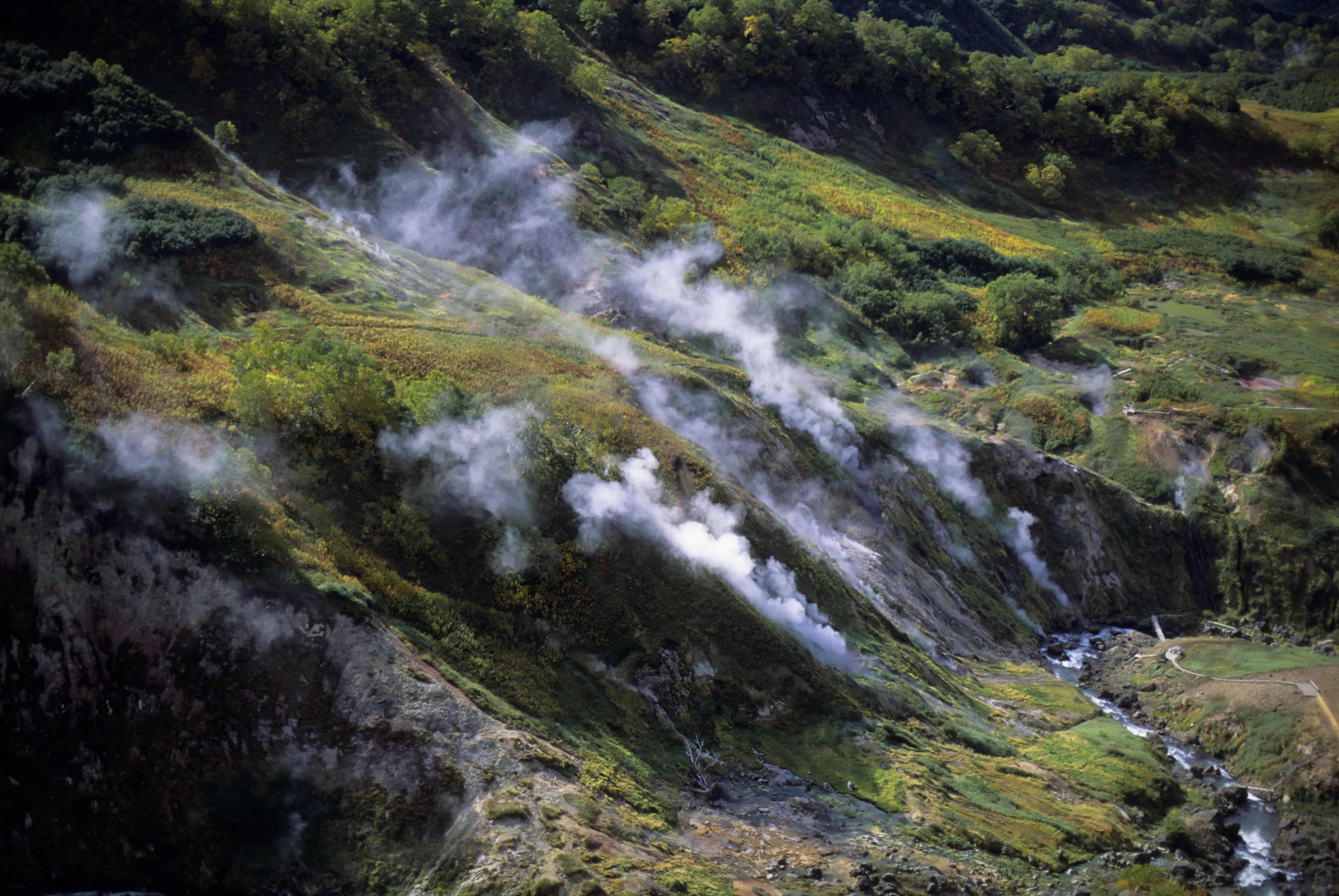 Russia, Kamchatka, View Of Valley Of The Geysers