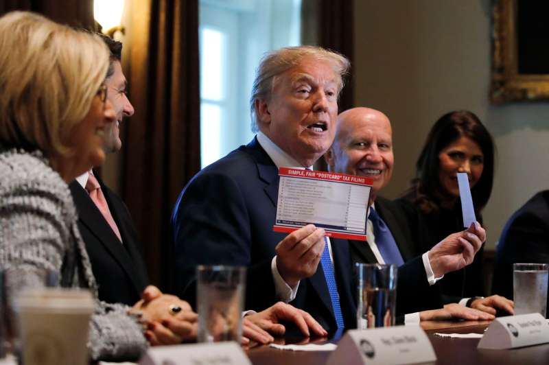 U.S. President Donald Trump promotes tax plan as he meets with House Republican leaders at the White House in Washington