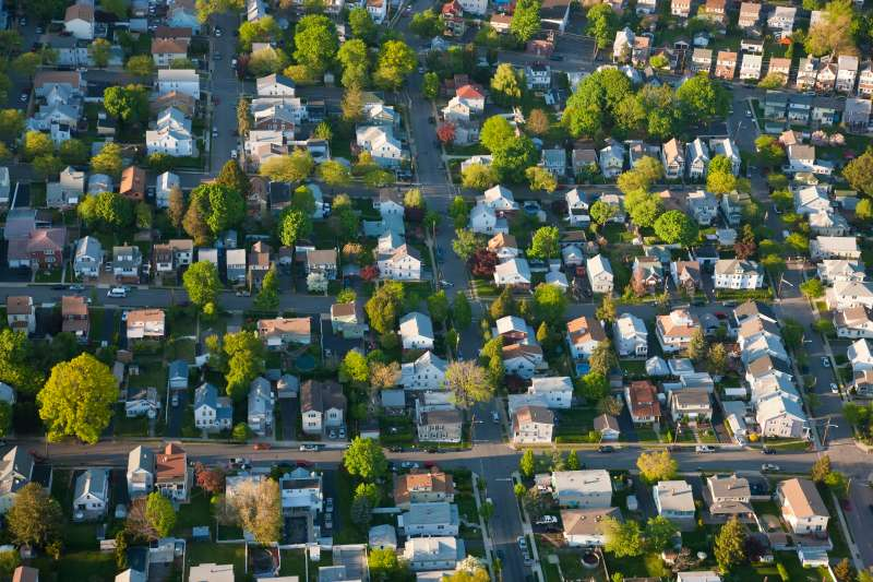 Aerial view of houses, New York, USA