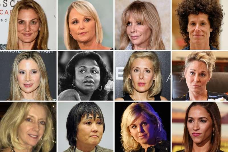 (top, l-r) Dana Min Goodman, Juliet Huddy, Rosanna Arquette, Andrea Constand; (middle, l-r) Mira Sorvino, Anita Hill, Tara Subkov, Beverly Bowman; (bottom, l-r) Kellie Boyle, Helen Gumpel, Gretchen Carlson, Julia Wolov.