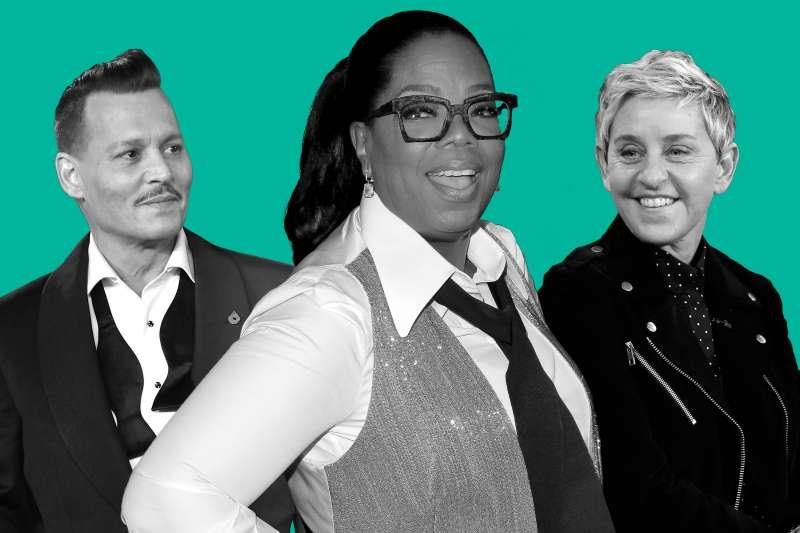 (Left to right) Johnny Depp, Oprah Winfrey, Ellen Degeneres
