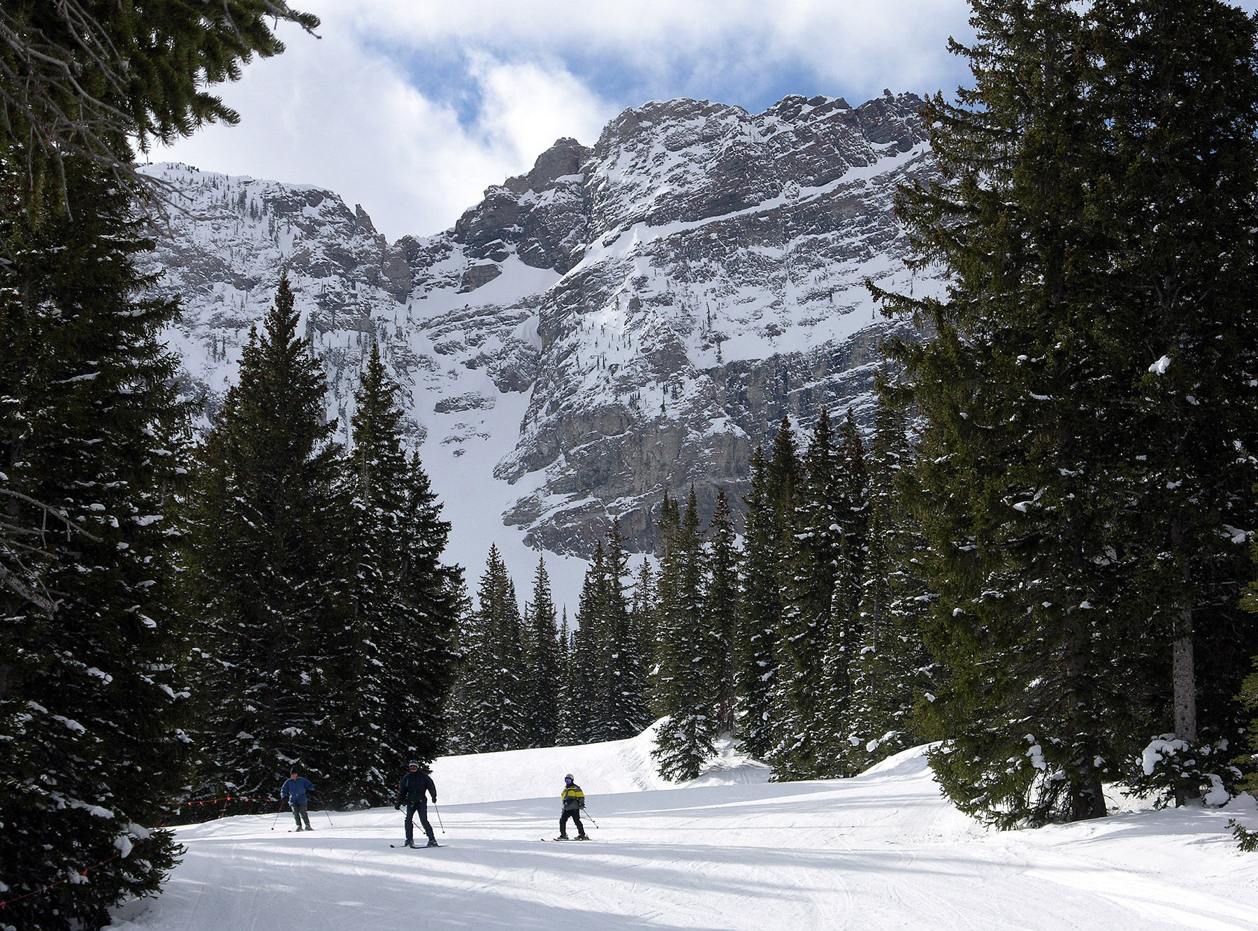 A family skiing at Alta Resort in Salt Lake City.