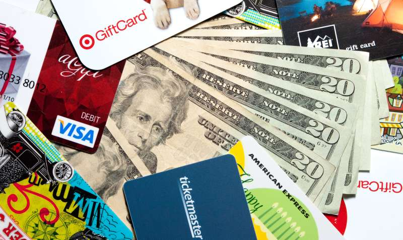 Gift cards and money