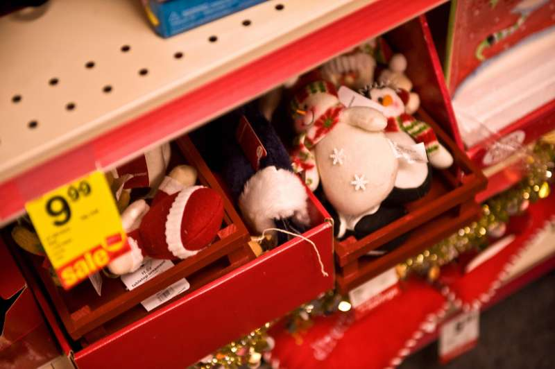 Christmas ornaments  are seen for sale at a CVS store in Washington on December 5, 2008.
