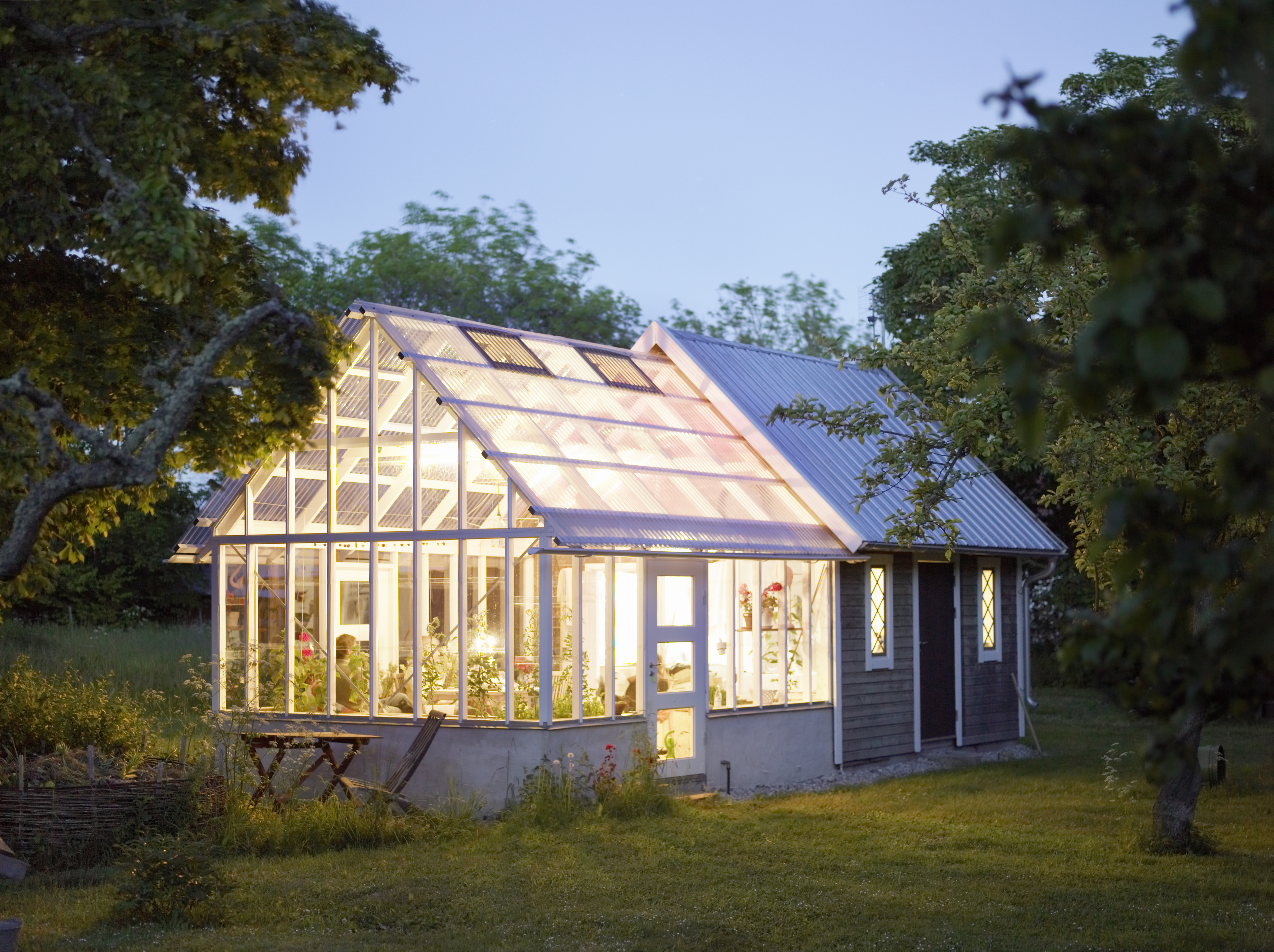 A house with a greenhouse