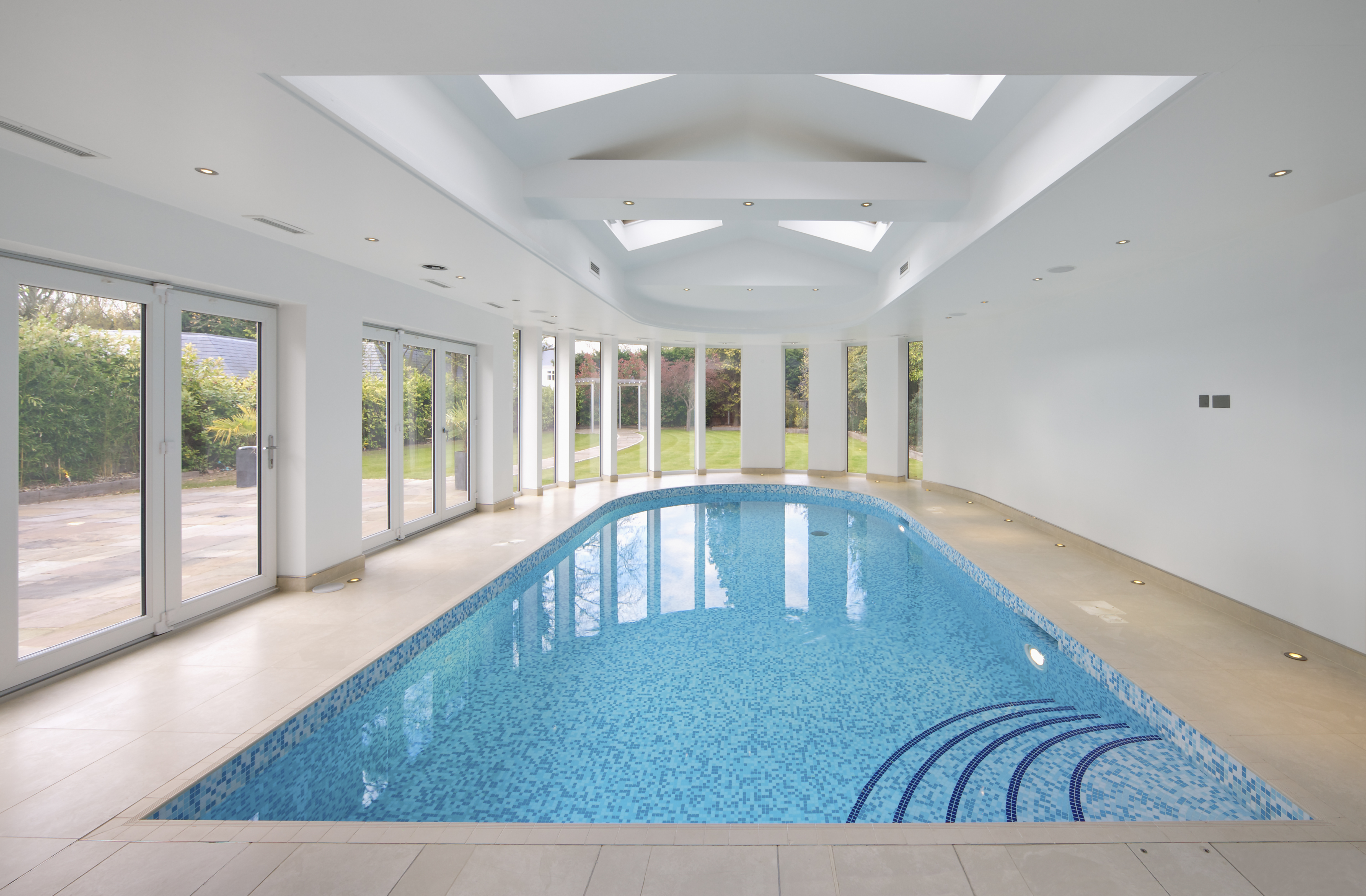 Indoor swimming pool in patio setting