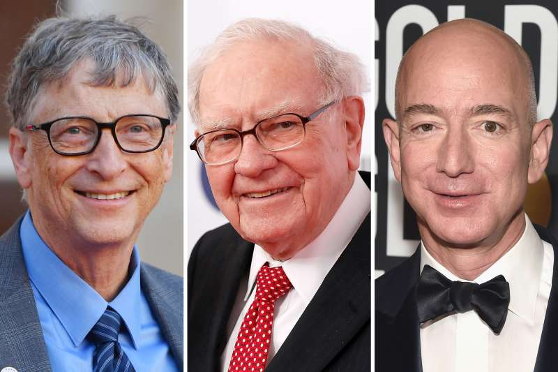 (left to right) Bill Gates, Warren Buffet, Jeff Bezos