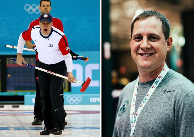 (Left) John Shuster of the USA competes against Switzerland during the Men's Curling Round Robin on day ten of the Sochi 2014 Winter Olympics at Ice Cube Curling Center on February 17, 2014 in Sochi, Russia; (right) John Schuster working at Dick's Sporting Goods.