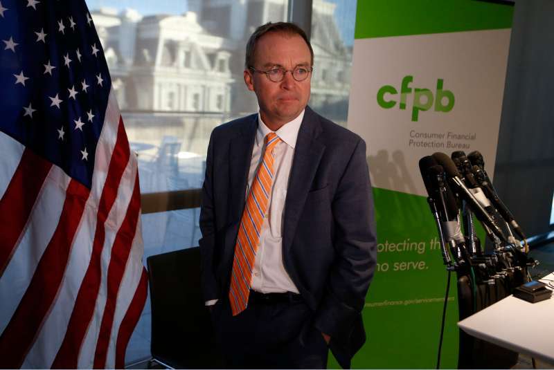 0MB Director Mulvaney speaks to the media at the U.S. Consumer Financial Protection Bureau in Washington