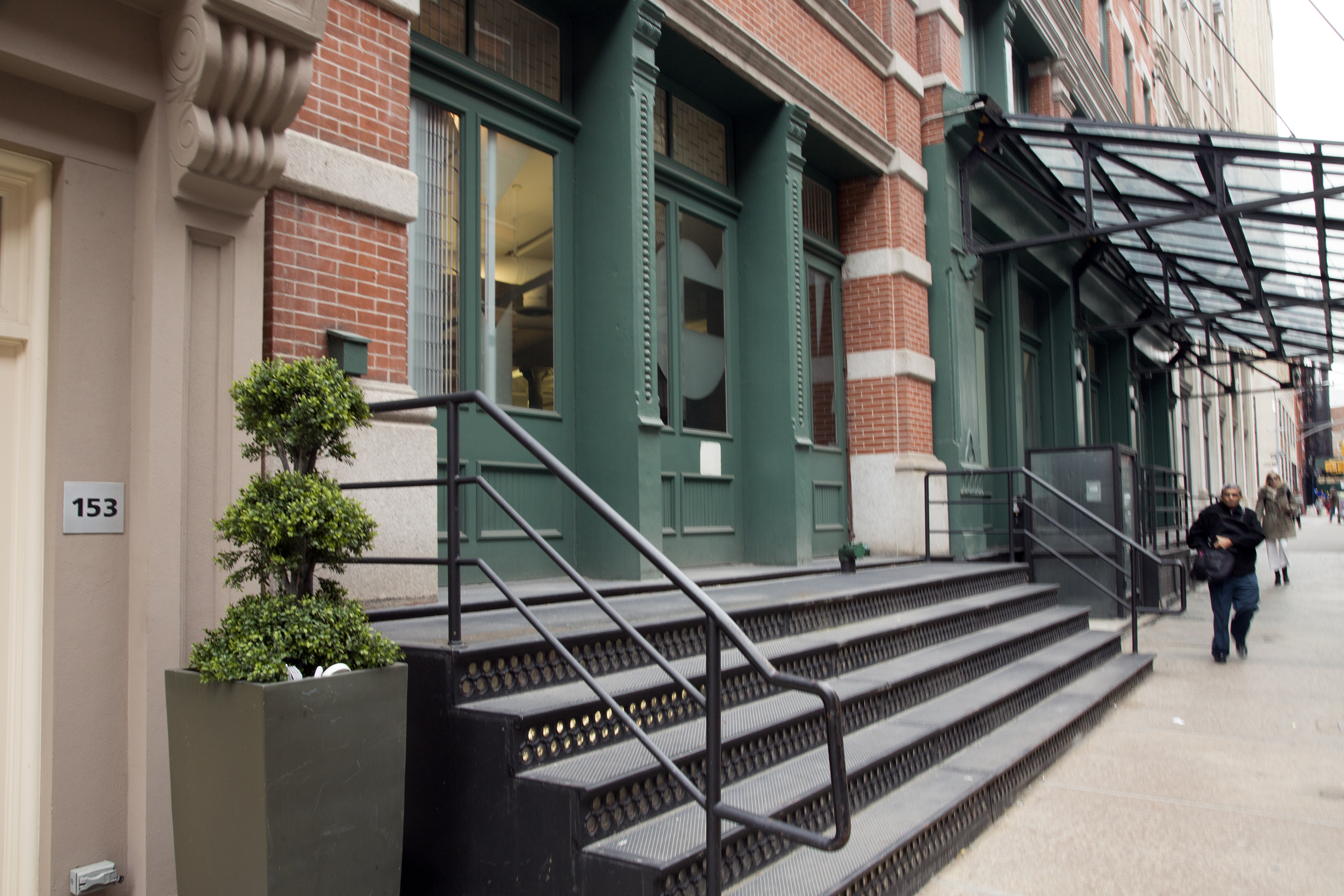 The steps in front of the Sugar Loaf Building, the warehouse-turned-luxury condo space that has housed Taylor Swift and several other recognizable names.