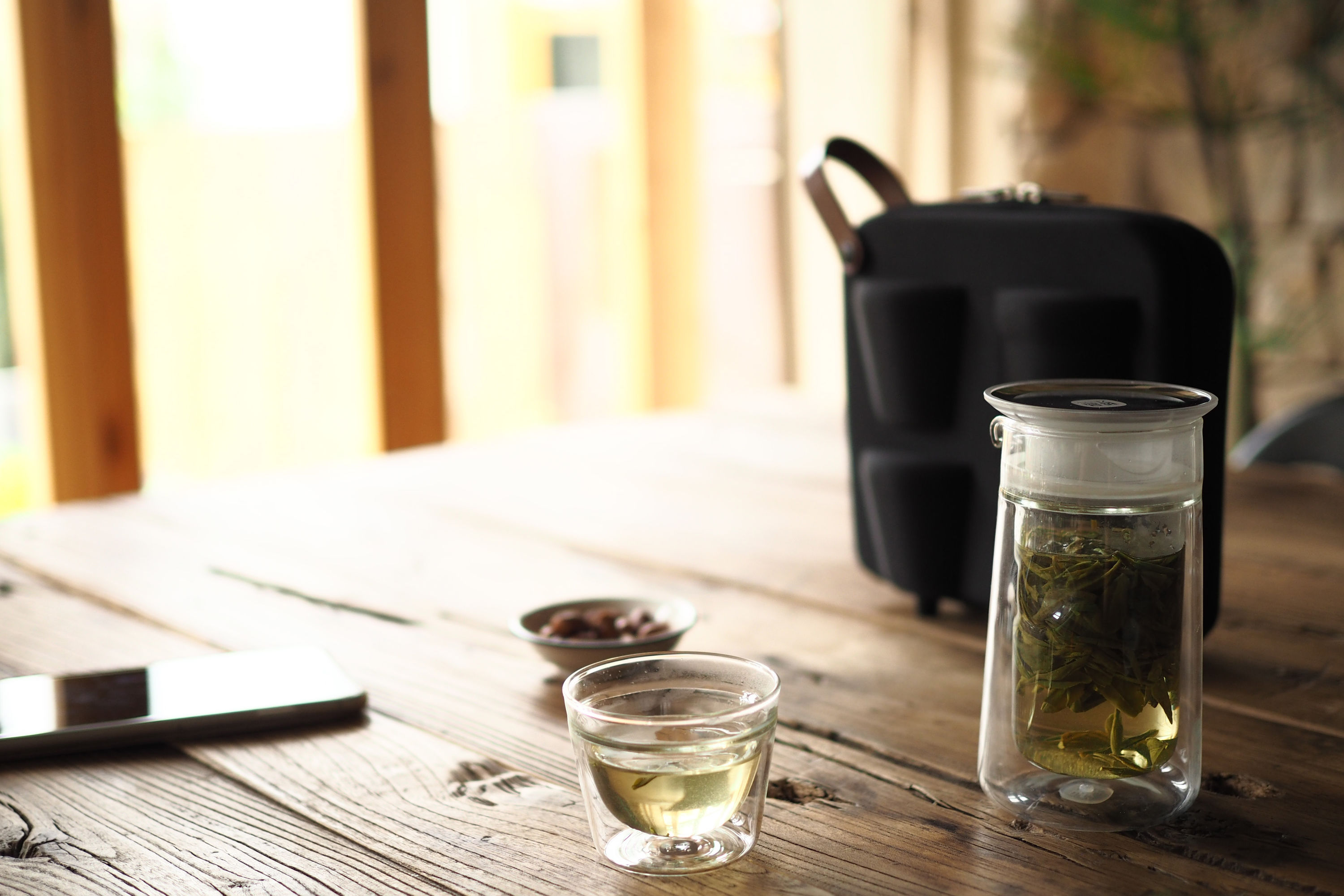 ZENS Portable Travel Double Wall Glass Tea Set for Two