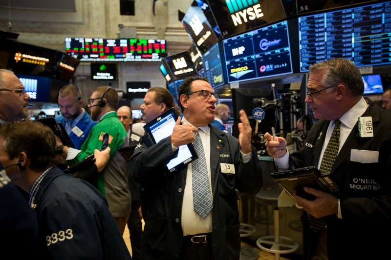 Trading On The Floor Of The NYSE As Rate Angst Sends Dow Down 600 Points
