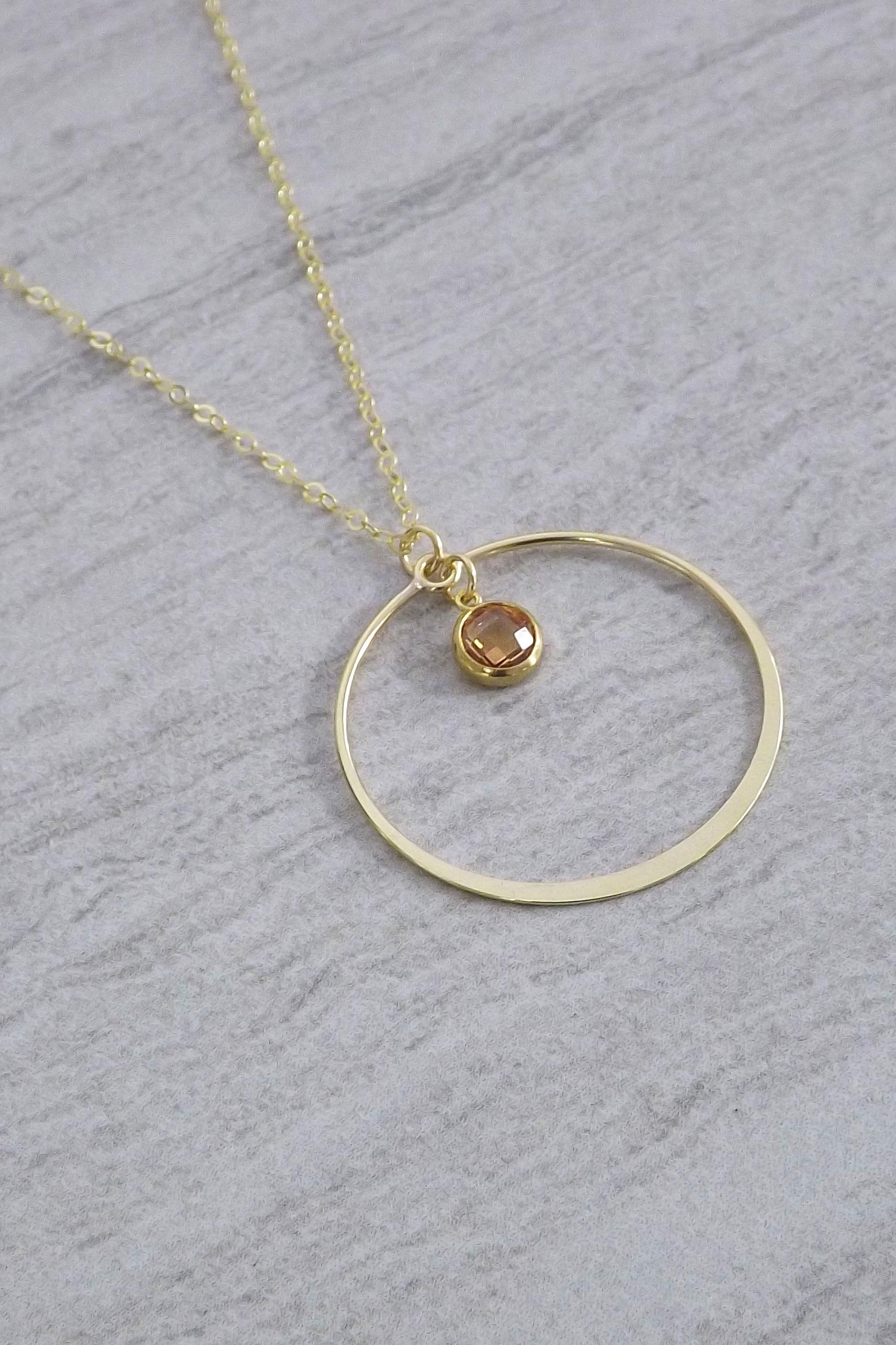 T. Victoria Champagne Gold Circle CZ Pendant