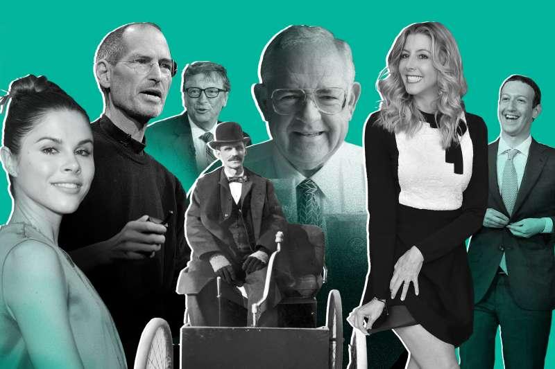(left to right) Emily Weiss, Steve Jobs, Bill Gates, Henry Ford, Dave Thomas, Sara Blakely, Mark Zuckerberg