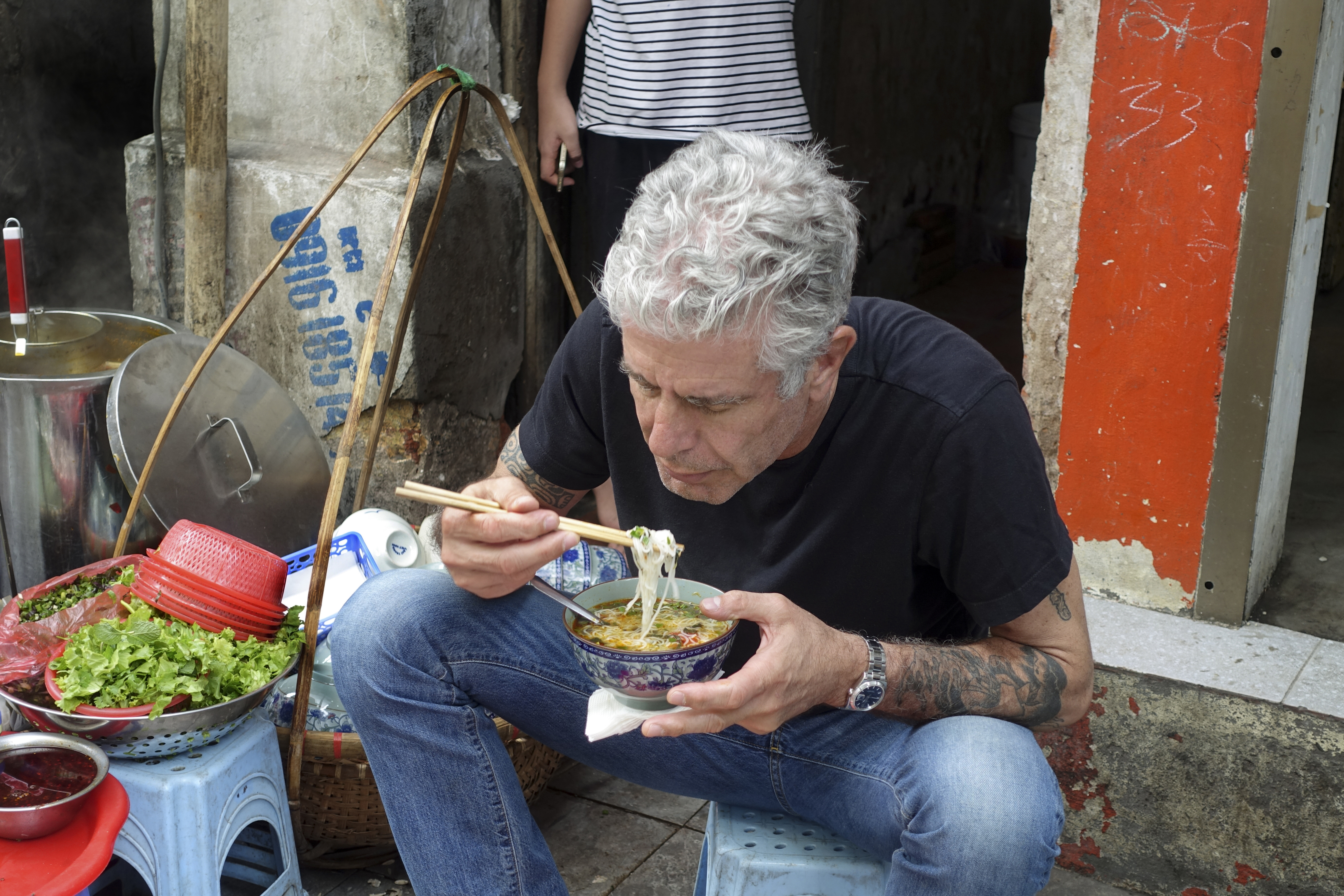 Anthony Bourdain films Parts Unknown in Lagos, April 2017.