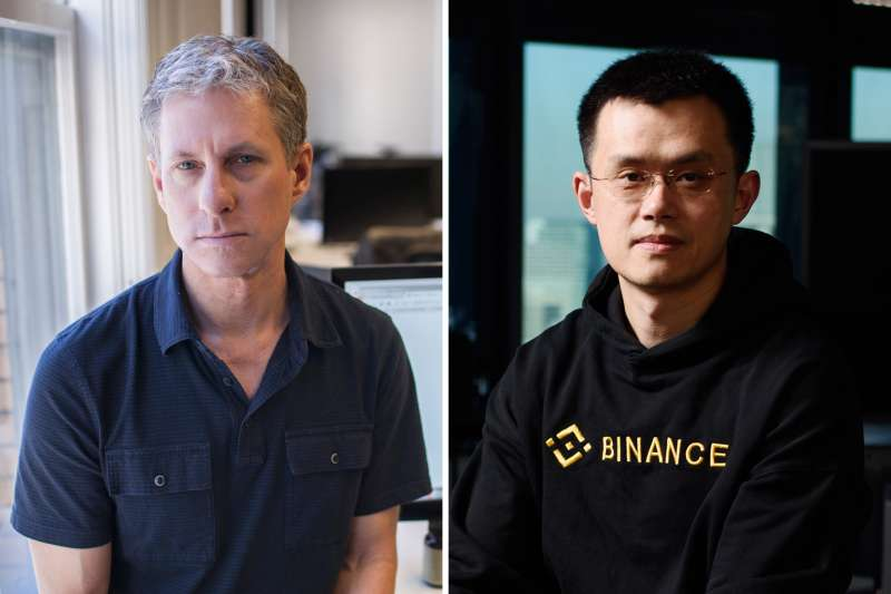 (left) Chris Larsen, chief executive of Ripple Labs, that makes a math-based currency, at company headquarters in San Francisco, Nov. 1, 2013. (right) Zhao Changpeng, chief executive officer of Binance, poses for a photograph following a Bloomberg Television interview in Tokyo, Japan, on Thursday, Jan. 11, 2018.
