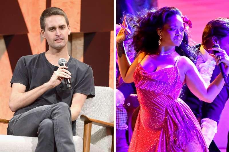 (left) Evan Spiegel; (right) Rihanna