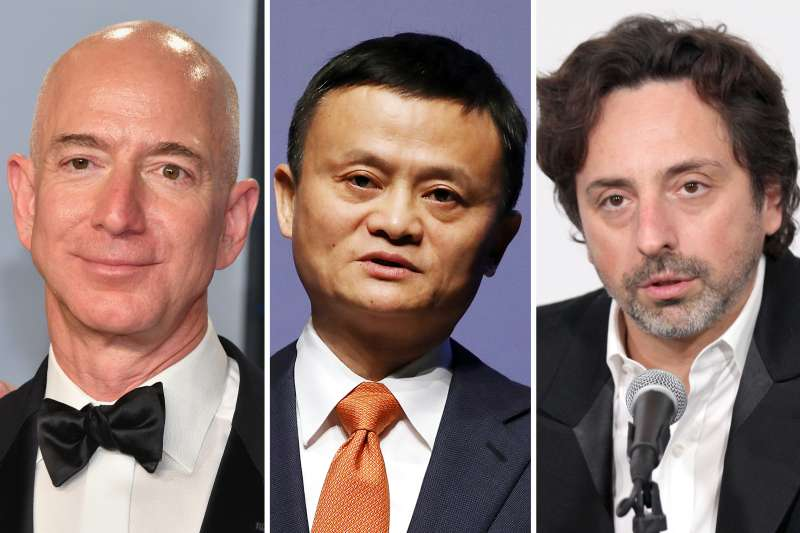 (left to right) Jeff Bezos, Jack Ma, Sergey Brin