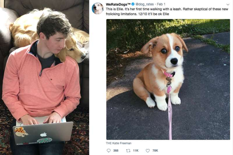 (left) Matt Nelson, founder of WeRateDogs; (right) Screenshot from WeRateDogs @dog_rates account on Twitter