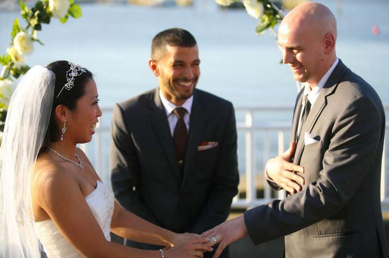Zuhair Nasher officiates at the wedding of Christina and Nick Altomare.