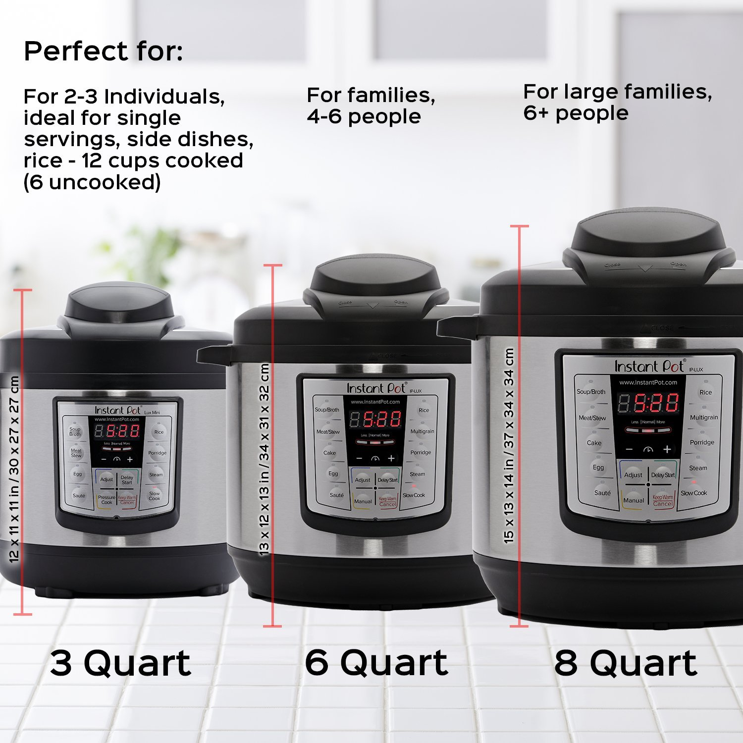 Instant Pot DUO comes in three different sizes.